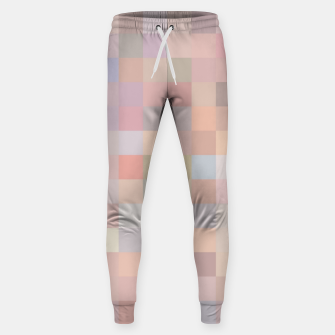 Thumbnail image of geometric square pixel pattern abstract in pink and blue Sweatpants, Live Heroes