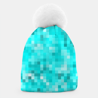 Thumbnail image of geometric square pixel pattern abstract background in blue Beanie, Live Heroes