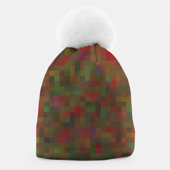 Thumbnail image of geometric square pixel pattern abstract background in red green orange Beanie, Live Heroes