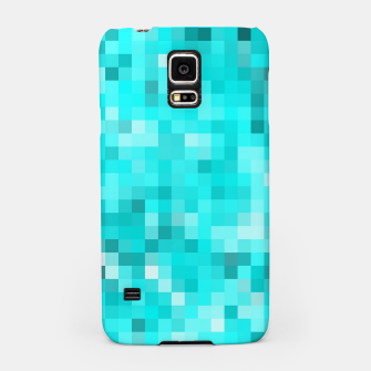 Thumbnail image of geometric square pixel pattern abstract background in blue Samsung Case, Live Heroes