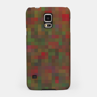 Thumbnail image of geometric square pixel pattern abstract background in red green orange Samsung Case, Live Heroes