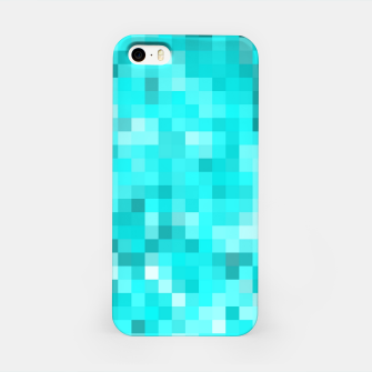 Thumbnail image of geometric square pixel pattern abstract background in blue iPhone Case, Live Heroes