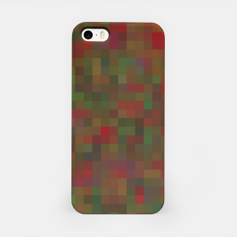 Thumbnail image of geometric square pixel pattern abstract background in red green orange iPhone Case, Live Heroes