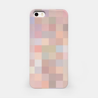 geometric square pixel pattern abstract in pink and blue iPhone Case thumbnail image