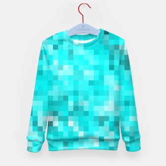 Thumbnail image of geometric square pixel pattern abstract background in blue Kid's sweater, Live Heroes