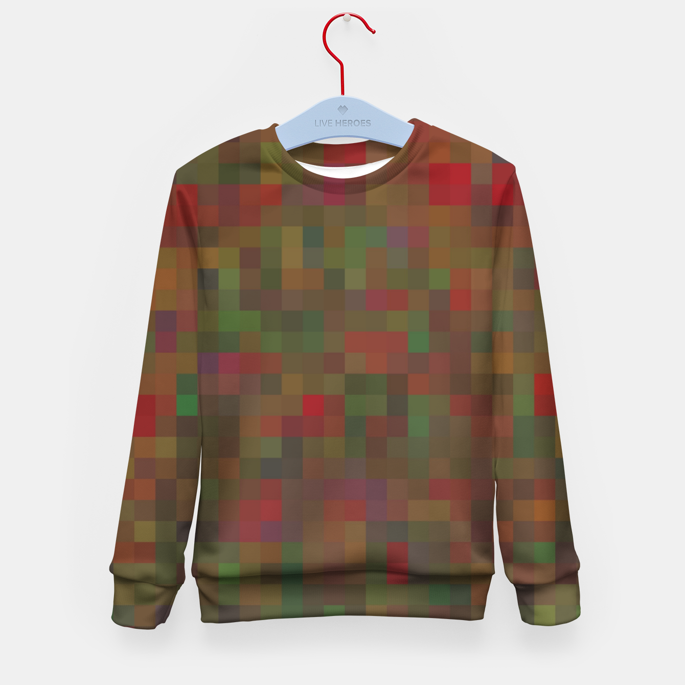 Image of geometric square pixel pattern abstract background in red green orange Kid's sweater - Live Heroes