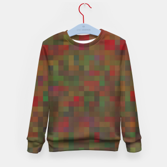 Thumbnail image of geometric square pixel pattern abstract background in red green orange Kid's sweater, Live Heroes