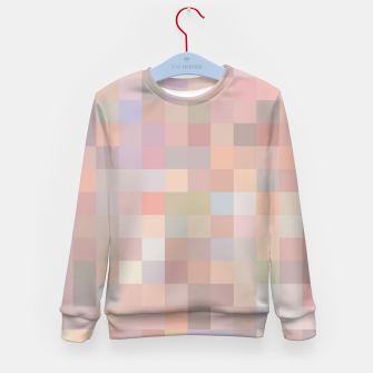 geometric square pixel pattern abstract in pink and blue Kid's sweater thumbnail image