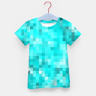 Thumbnail image of geometric square pixel pattern abstract background in blue Kid's t-shirt, Live Heroes