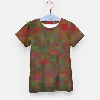 Thumbnail image of geometric square pixel pattern abstract background in red green orange Kid's t-shirt, Live Heroes