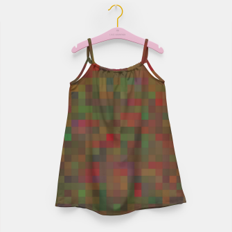Thumbnail image of geometric square pixel pattern abstract background in red green orange Girl's dress, Live Heroes
