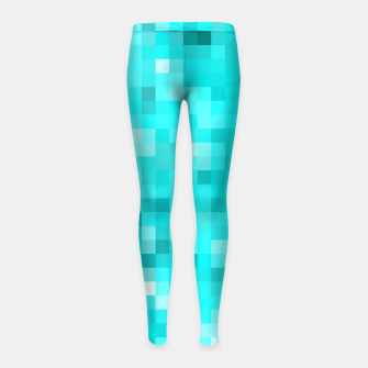 Thumbnail image of geometric square pixel pattern abstract background in blue Girl's leggings, Live Heroes