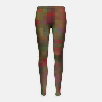 Thumbnail image of geometric square pixel pattern abstract background in red green orange Girl's leggings, Live Heroes