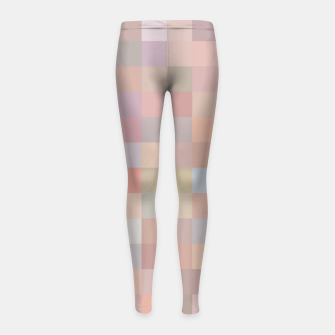 Thumbnail image of geometric square pixel pattern abstract in pink and blue Girl's leggings, Live Heroes