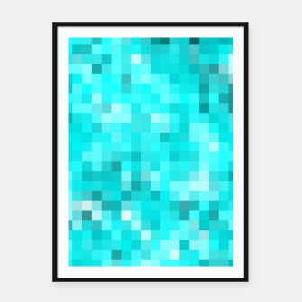 Thumbnail image of geometric square pixel pattern abstract background in blue Framed poster, Live Heroes