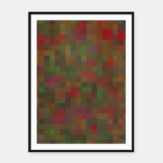 Thumbnail image of geometric square pixel pattern abstract background in red green orange Framed poster, Live Heroes