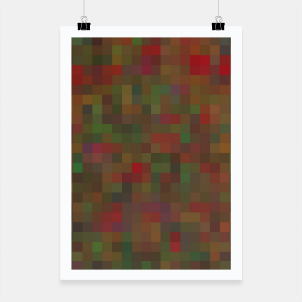 Thumbnail image of geometric square pixel pattern abstract background in red green orange Poster, Live Heroes