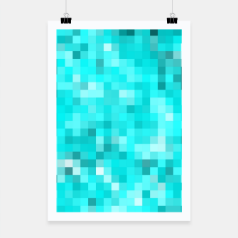 Thumbnail image of geometric square pixel pattern abstract background in blue Poster, Live Heroes