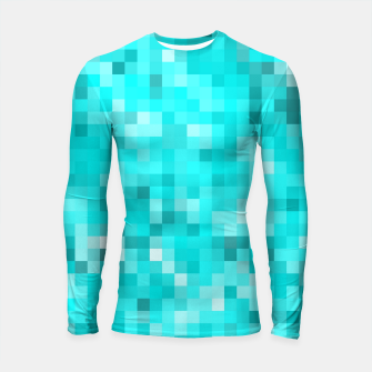 Thumbnail image of geometric square pixel pattern abstract background in blue Longsleeve rashguard , Live Heroes