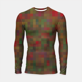 Thumbnail image of geometric square pixel pattern abstract background in red green orange Longsleeve rashguard , Live Heroes