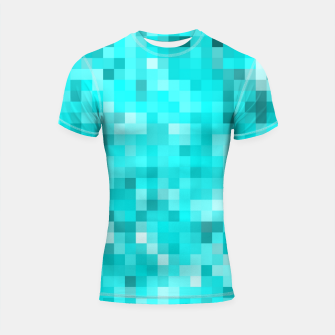 Thumbnail image of geometric square pixel pattern abstract background in blue Shortsleeve rashguard, Live Heroes