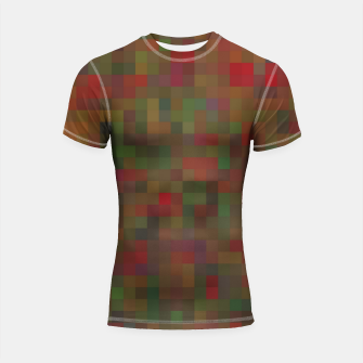 Thumbnail image of geometric square pixel pattern abstract background in red green orange Shortsleeve rashguard, Live Heroes