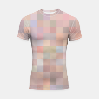 Thumbnail image of geometric square pixel pattern abstract in pink and blue Shortsleeve rashguard, Live Heroes