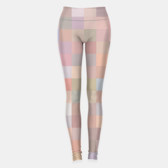 geometric square pixel pattern abstract in pink and blue Leggings thumbnail image
