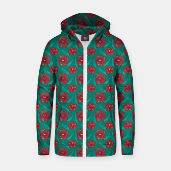 Miniaturka Floral on Peacock Green Zip up hoodie, Live Heroes