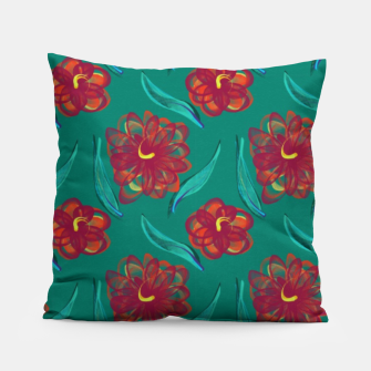 Miniaturka Floral on Peacock Green Pillow, Live Heroes