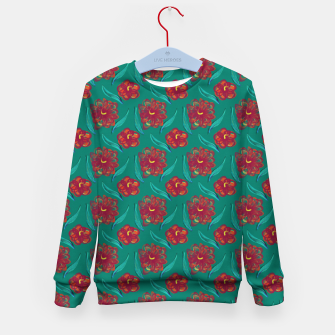 Miniaturka Floral on Peacock Green Kid's sweater, Live Heroes