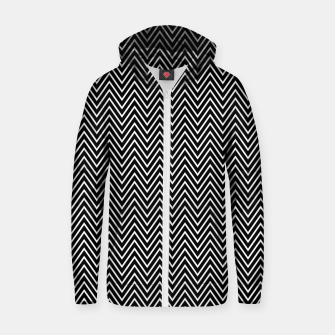 Chevron Black And White Zip up hoodie thumbnail image