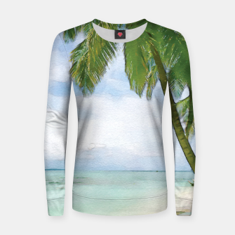 Miniatur Watercolor Beach Women sweater, Live Heroes