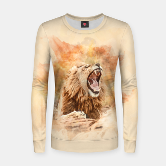 Lion Yawning Women sweater Bild der Miniatur
