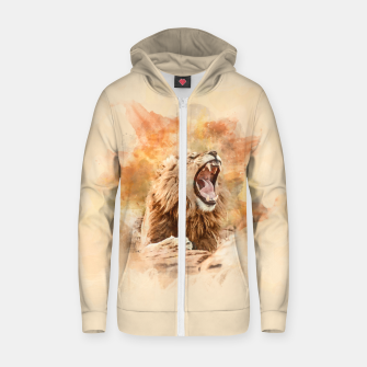 Thumbnail image of Lion Yawning Zip up hoodie, Live Heroes