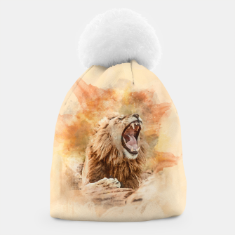 Thumbnail image of Lion Yawning Beanie, Live Heroes