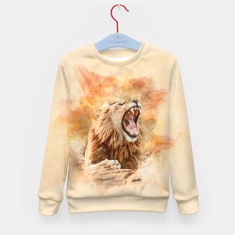 Lion Yawning Kid's sweater obraz miniatury
