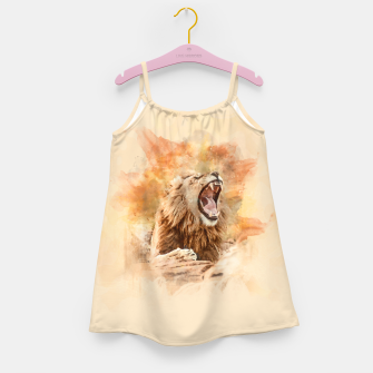 Lion Yawning Girl's dress obraz miniatury