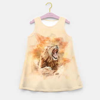 Miniatur Lion Yawning Girl's summer dress, Live Heroes