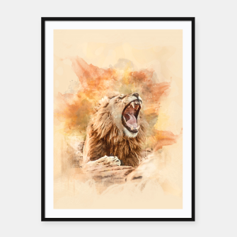 Thumbnail image of Lion Yawning Framed poster, Live Heroes