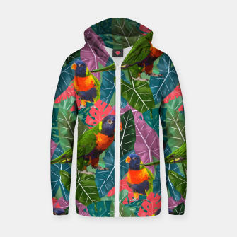 Parrots and Tropical Leaves Zip up hoodie thumbnail image