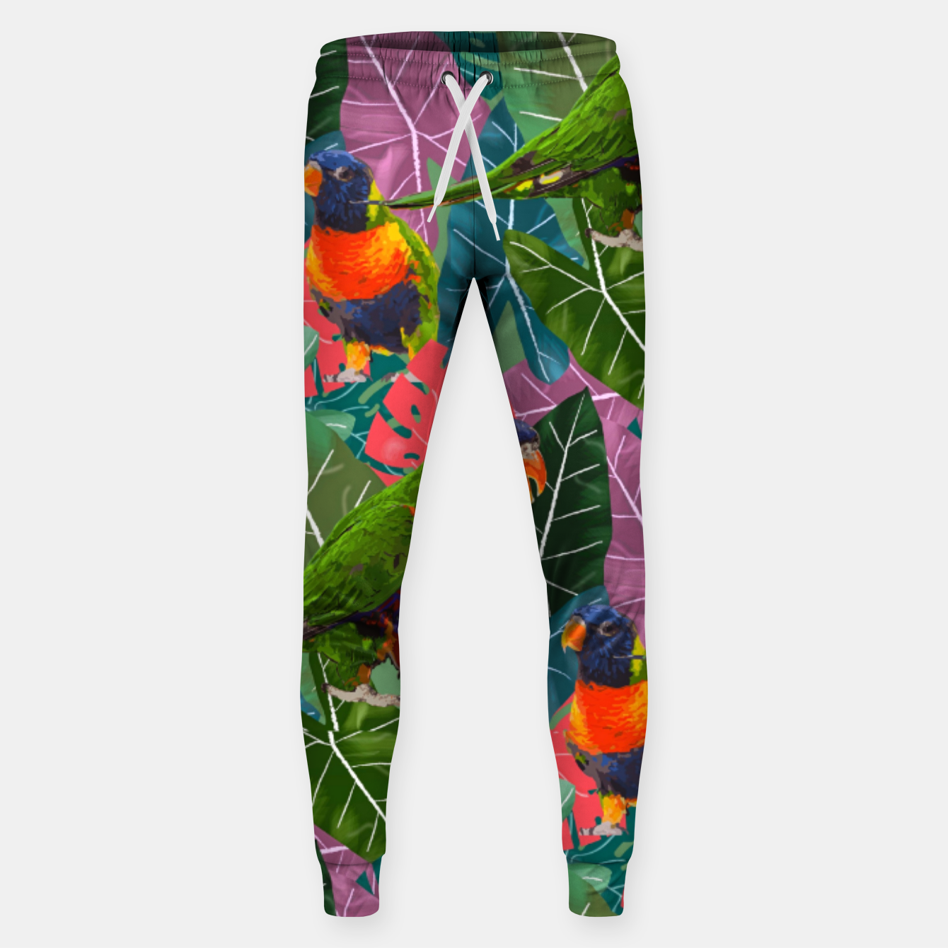Image of Parrots and Tropical Leaves Sweatpants - Live Heroes