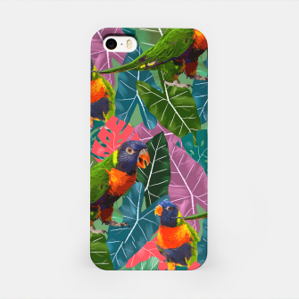 Parrots and Tropical Leaves iPhone Case thumbnail image