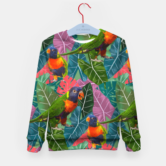 Parrots and Tropical Leaves Kid's sweater thumbnail image