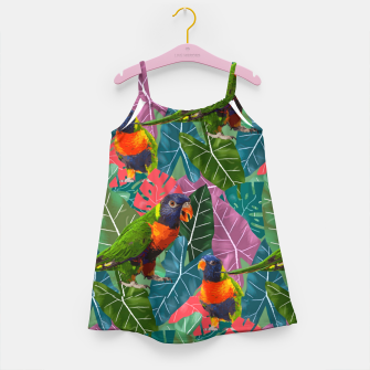 Parrots and Tropical Leaves Girl's dress thumbnail image