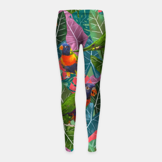 Parrots and Tropical Leaves Girl's leggings thumbnail image