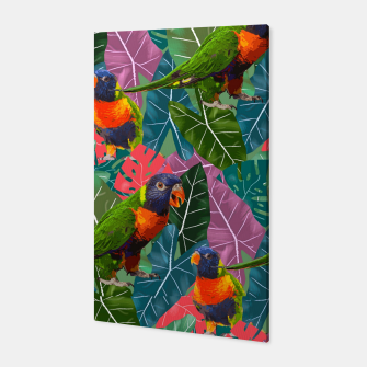 Parrots and Tropical Leaves Canvas thumbnail image