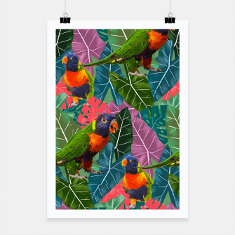 Parrots and Tropical Leaves Poster thumbnail image