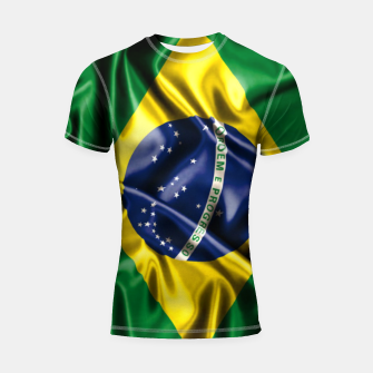 Thumbnail image of Brazilian Flag Green Yellow Bleu Brazil Shortsleeve rashguard, Live Heroes