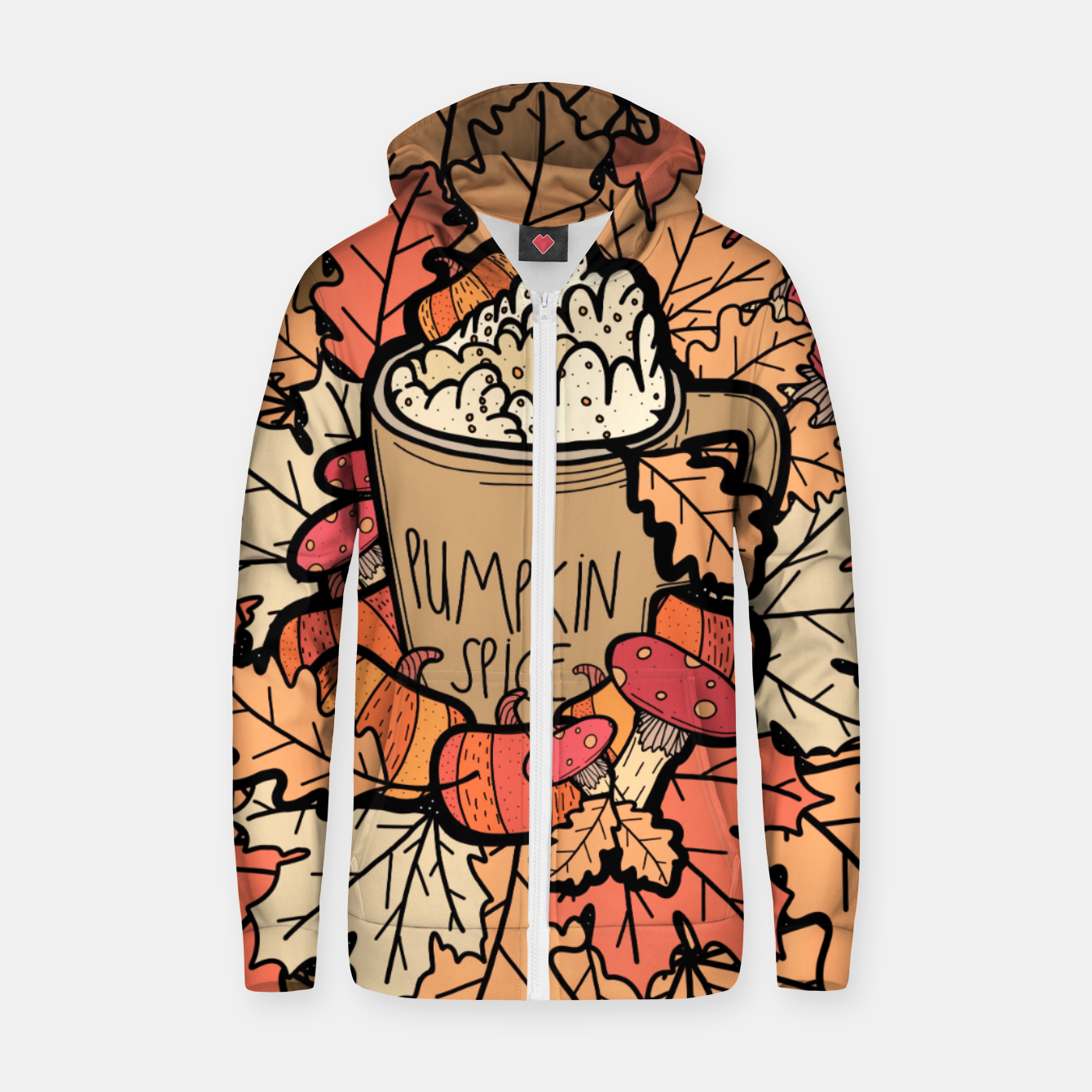 Image of Pumpkin spice coffee Zip up hoodie - Live Heroes